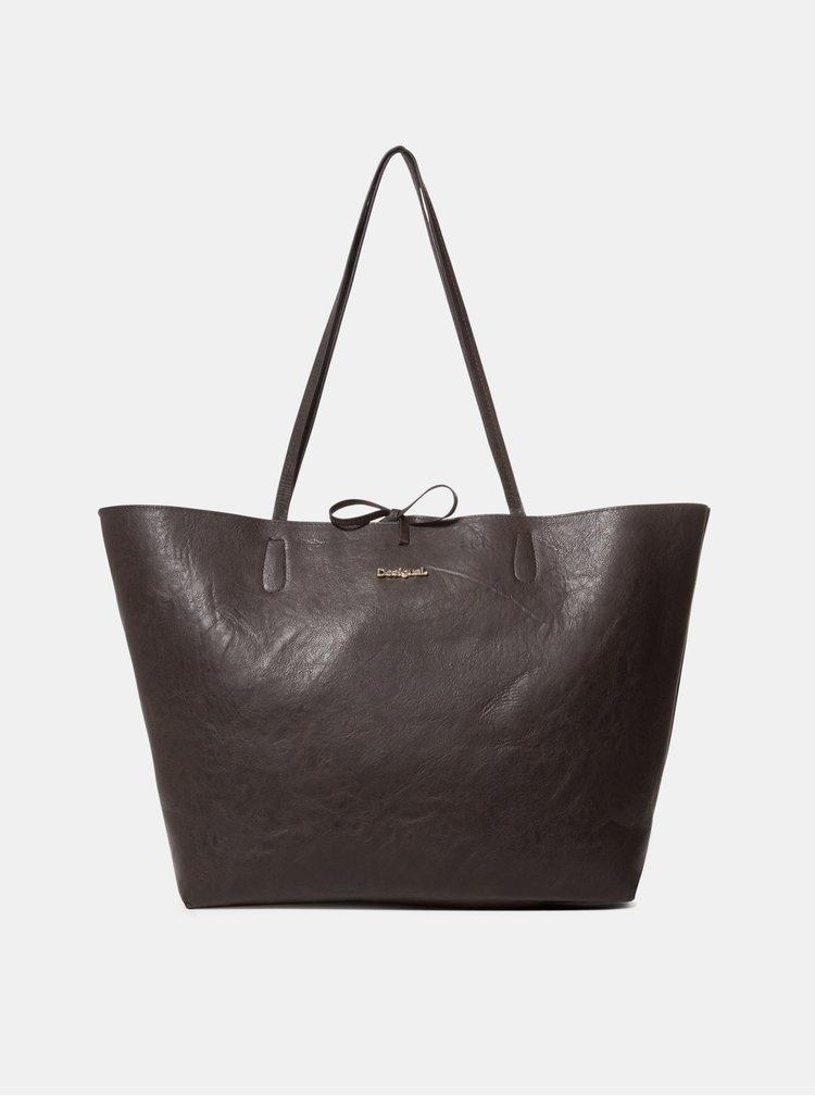 Geanta pentru shopping crem-negru reversibila cu portofel 2 in 1 Desigual Isola Capri