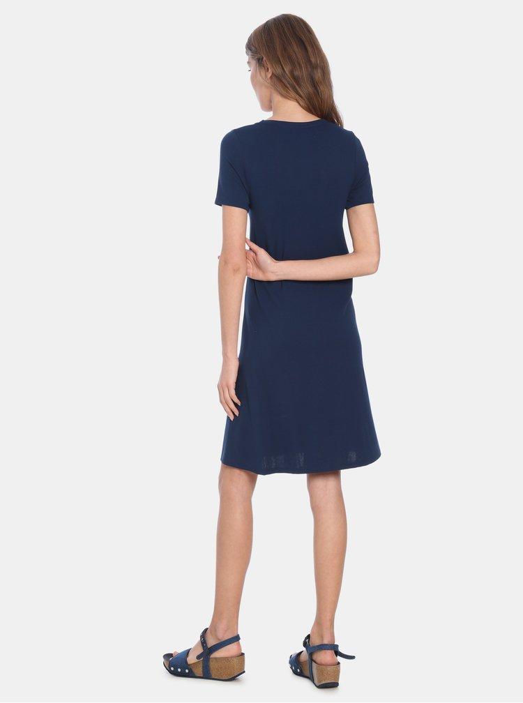 Tmavomodré šaty s potlačou Desigual Liricaa