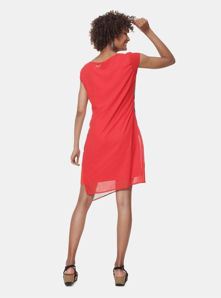 Rochie albastru-rosu cu model Desigual Japan