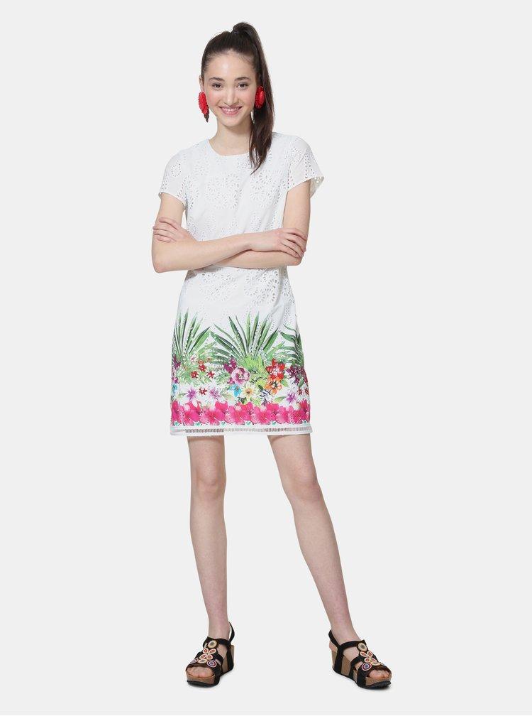 Bílé květované šaty s madeirou Desigual Dencer