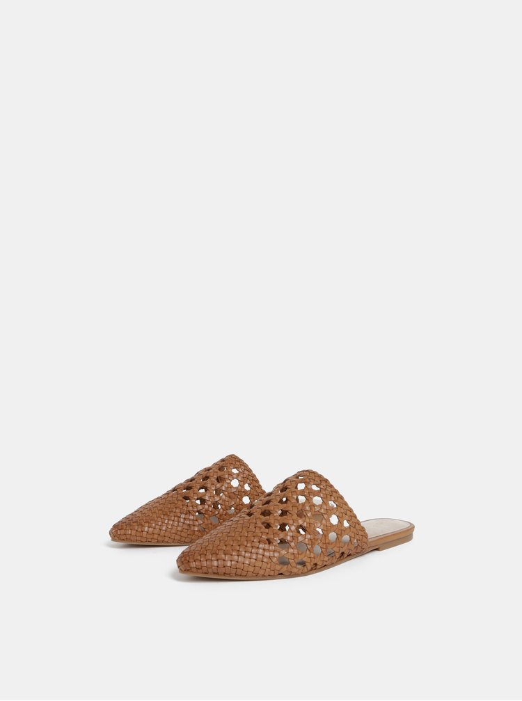 Hnedé dámske kožené šľapky ALDO Rylyan
