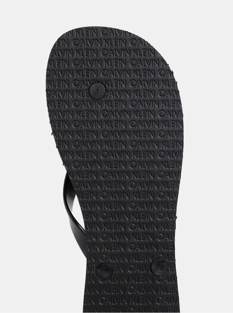 Černé pánské žabky s potiskem Calvin Klein Underwear