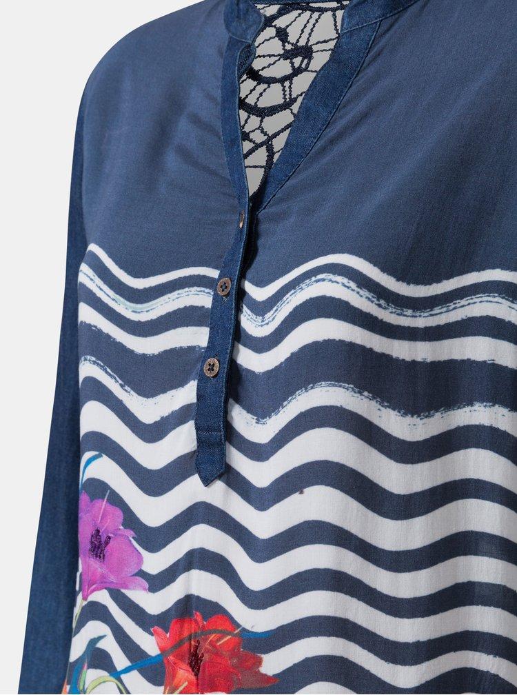 Tmavě modrá vzorovaná halenka s kajkovým detailem Desigual Liuba