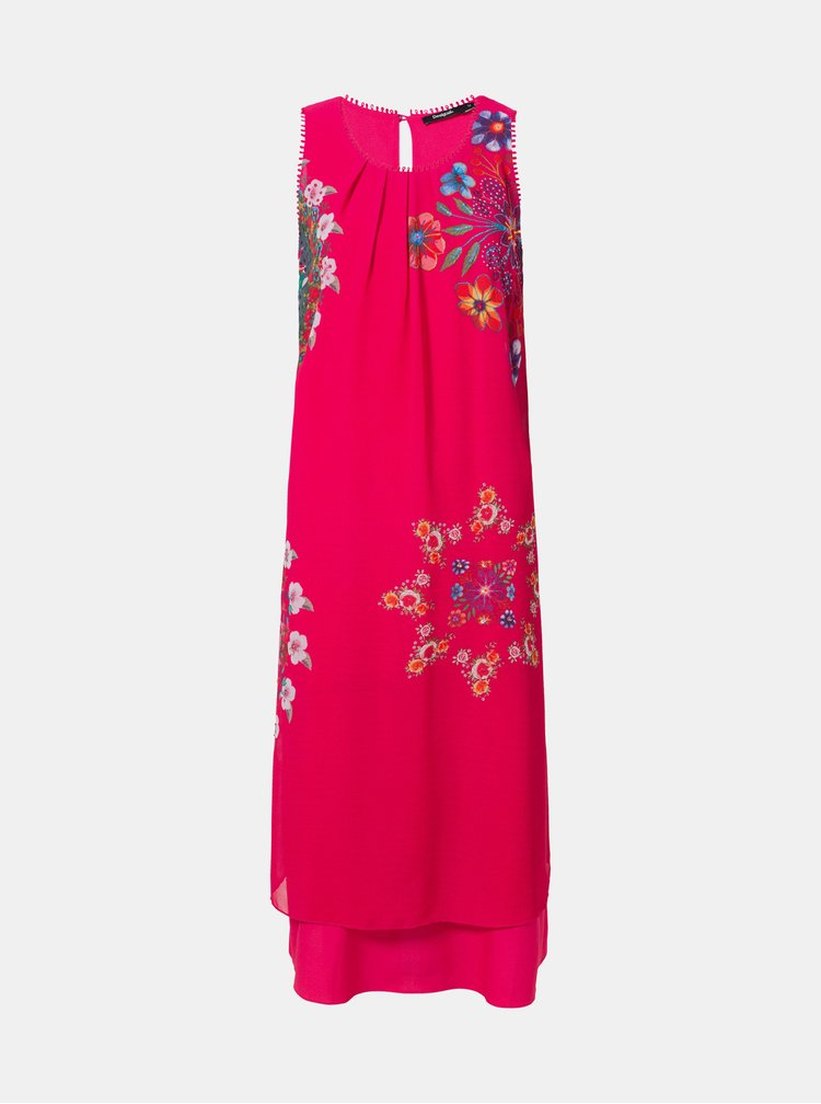 Rochie roz inchis florala Desigual Sacha