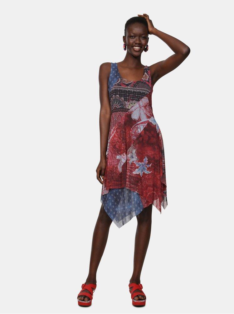 Rochie albastru-rosu cu model Desigual Pequot
