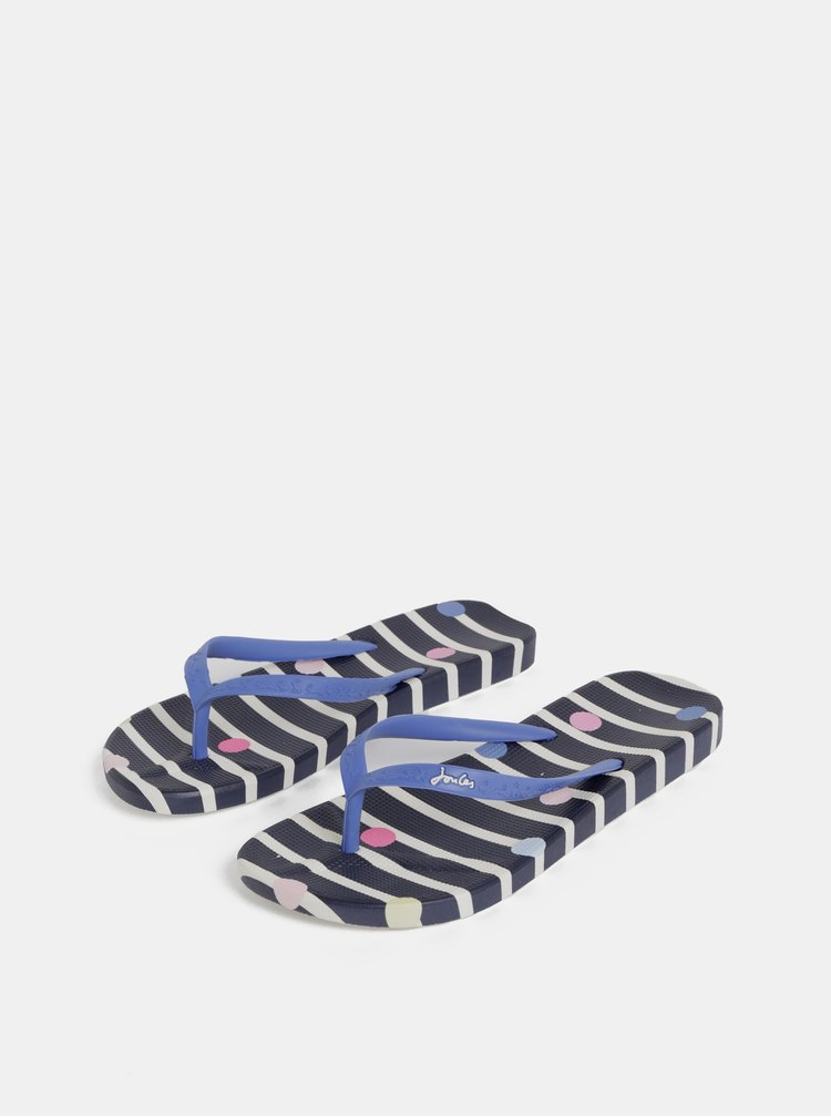 Papuci flip-flop albastru inchis in dungi de dama Tom Joule