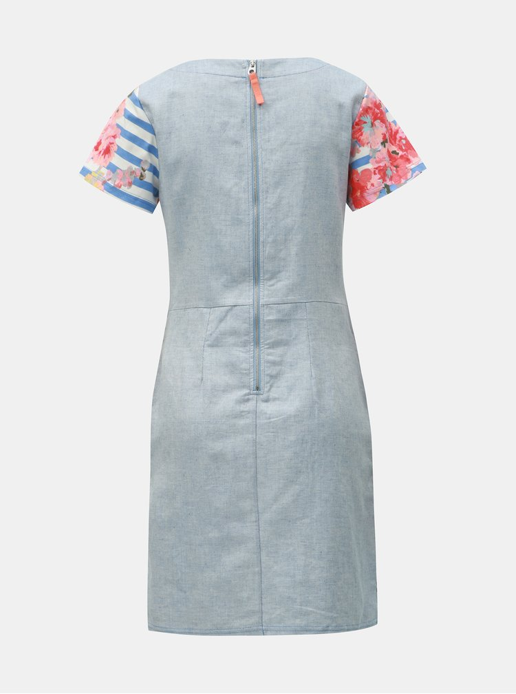 Rochie alb-albastru florala cu amestec de in Tom Joule Ottie