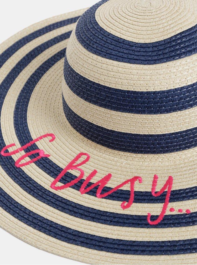 Modro–béžový dámsky pruhovaný klobúk s výšivkou Tom Joule Shade