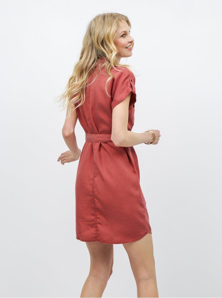 Cihlové šaty s kapsami Noisy May Vera
