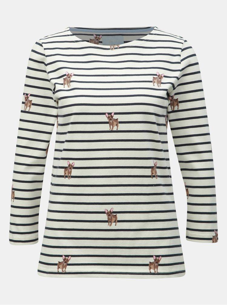 Krémové pruhované tričko s motivem psů Tom Joule Harbour