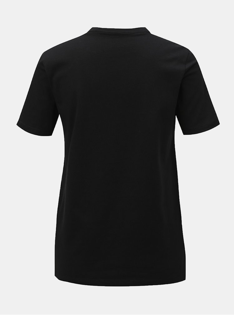 Tricou negru de dama cu imprimeu adidas Originals Trefioil