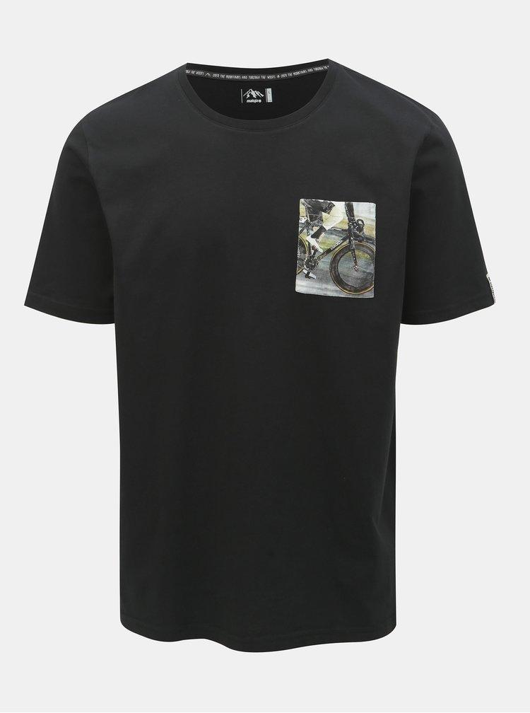 Tricou barbatesc negru cu buzunar Maloja Flüs