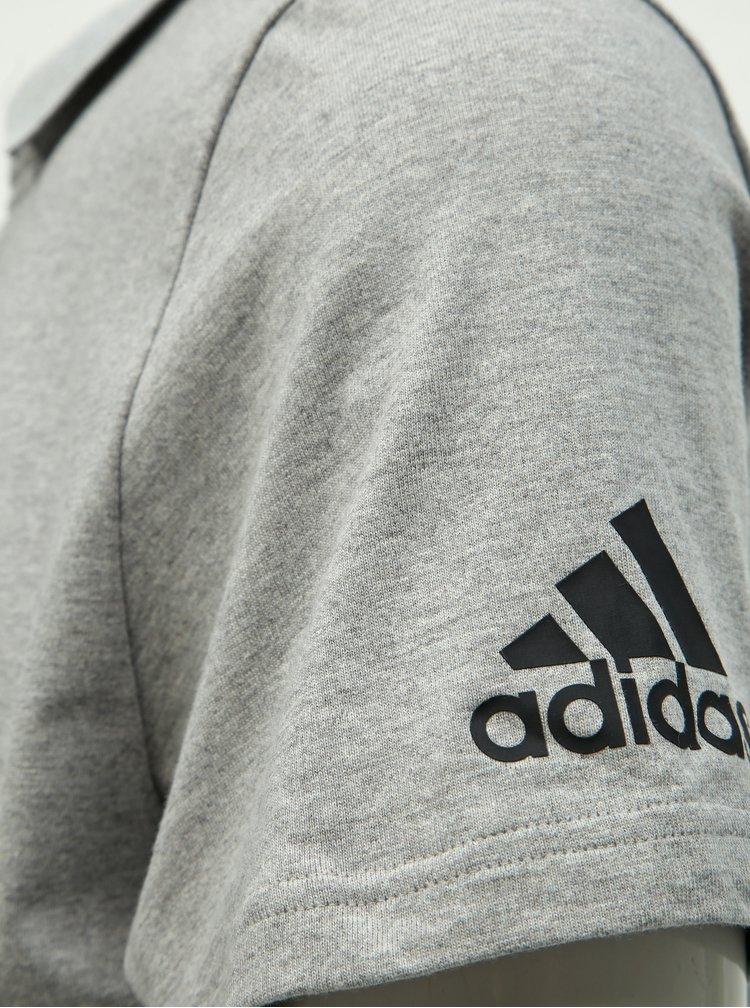 Šedé pánské žíhané polo tričko adidas Performance