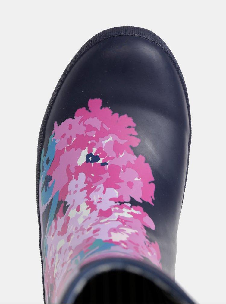Růžovo-modré dámské květované holínky Tom Joule Molly