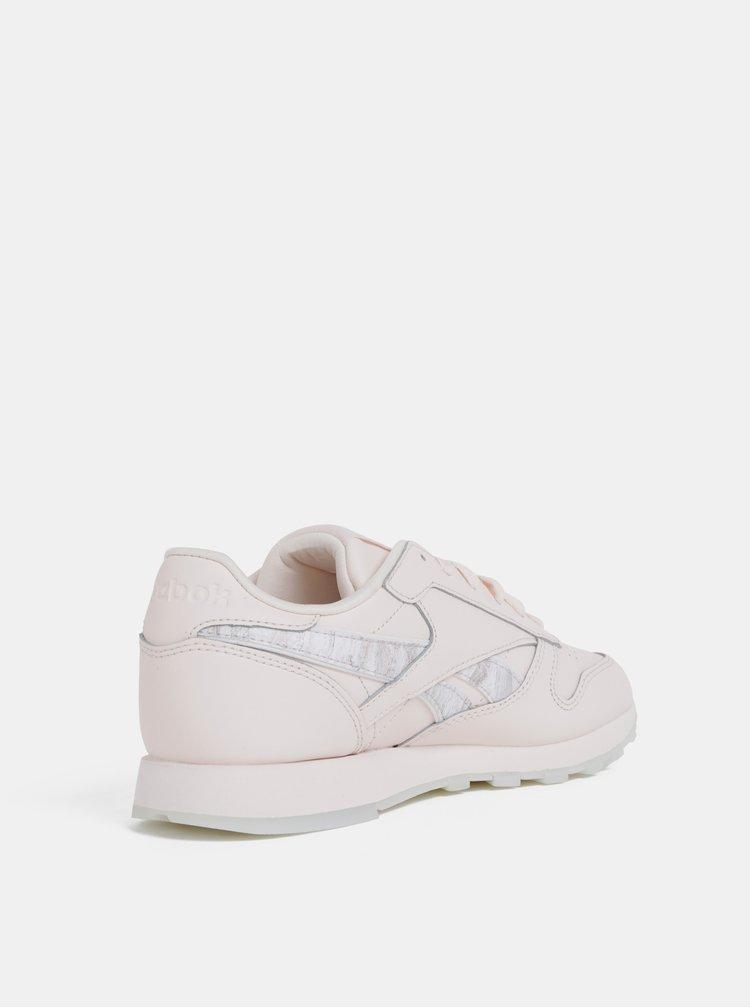 Pantofi sport roz deschis de dama din piele Reebok Classic LTHR