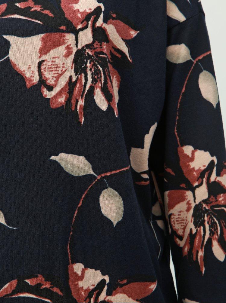 Tmavě modré květované volné tričko s 3/4 rukávem ONLY Elcos