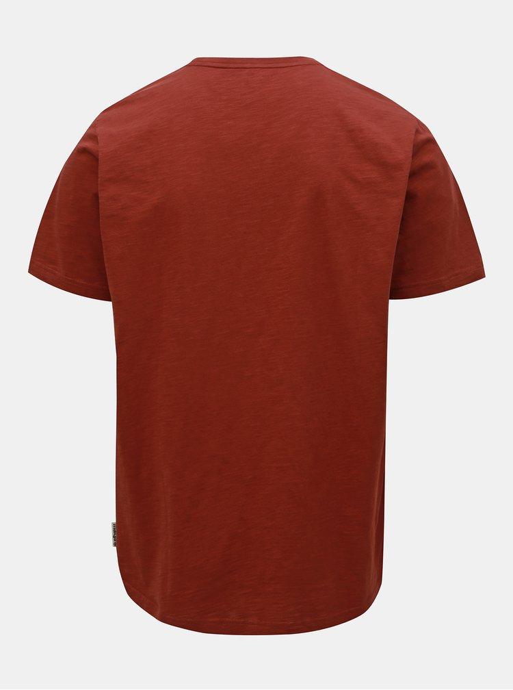 Hnědé pánské tričko s potiskem Maloja Archas