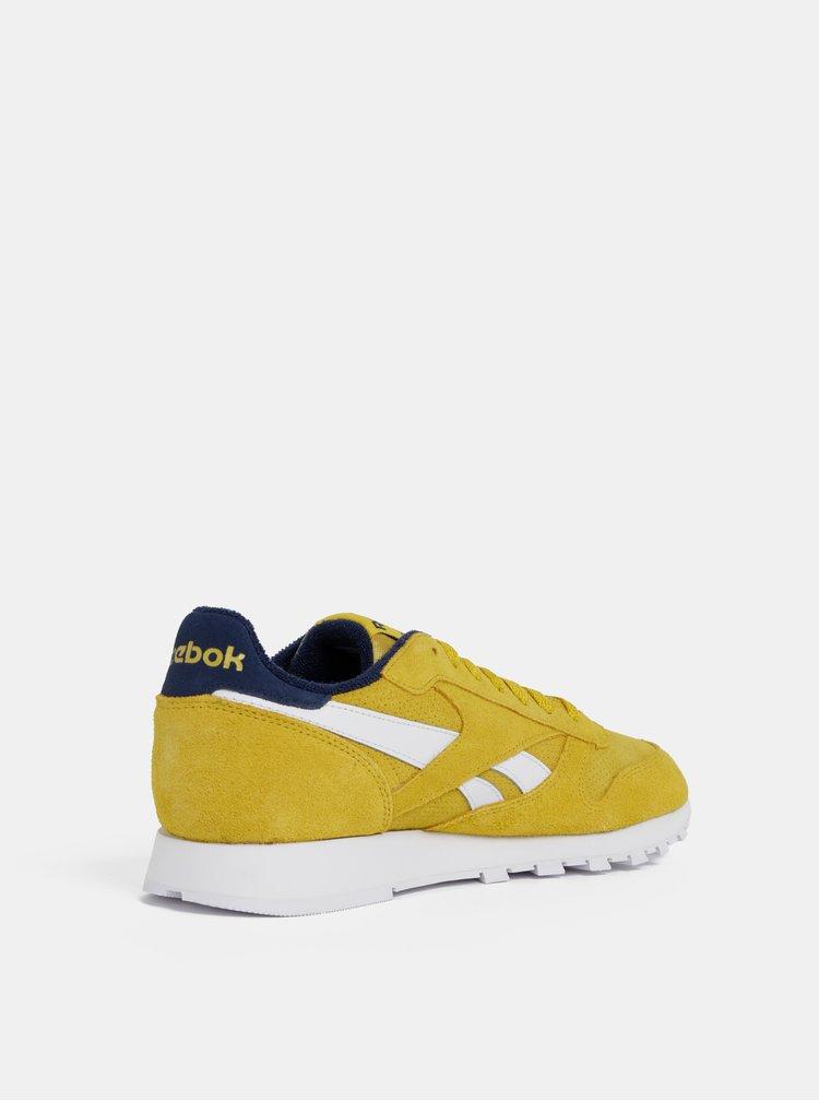 Pantofi sport barbatesti galbeni din piele intoarsa Reebok Classic Leather MU