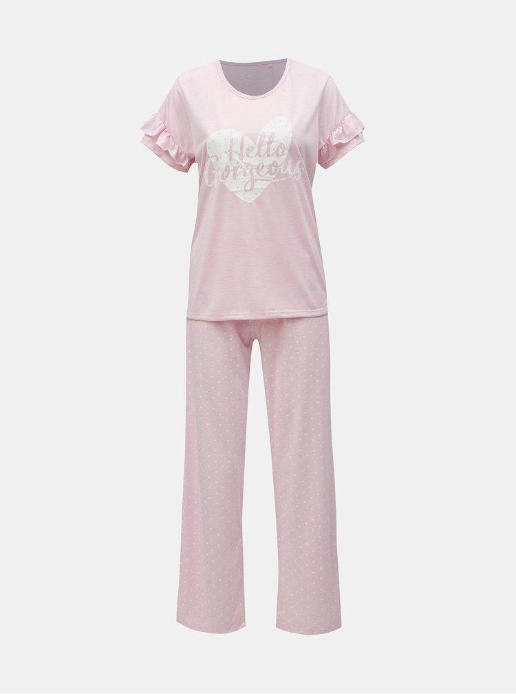 Pijama din 2 piese roz melanj cu imprimeu M&Co