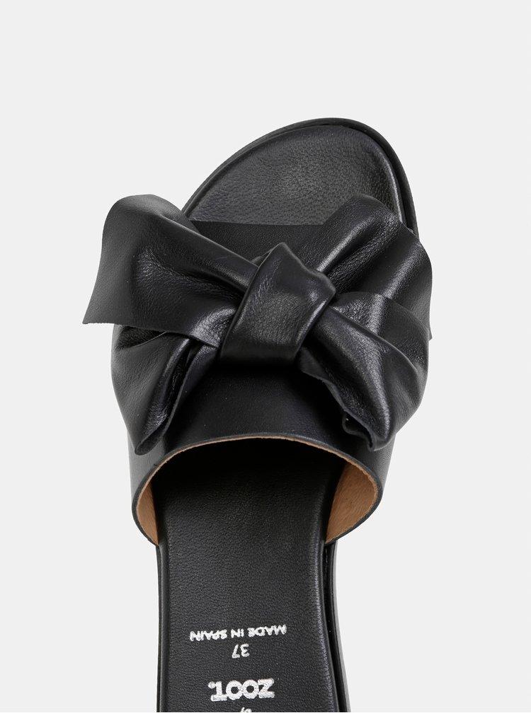 Čierne kožené šľapky s mašľou OJJU
