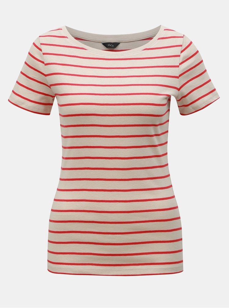 Béžové pruhované tričko M&Co