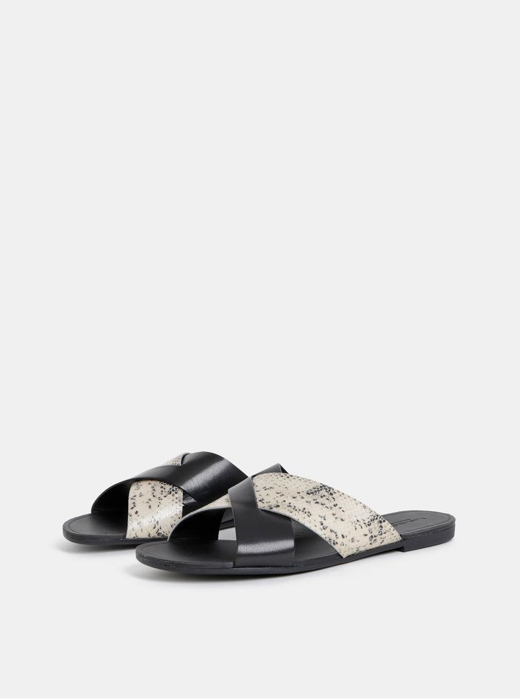 Černé dámské pantofle s hadím vzorem Vagabond Tia