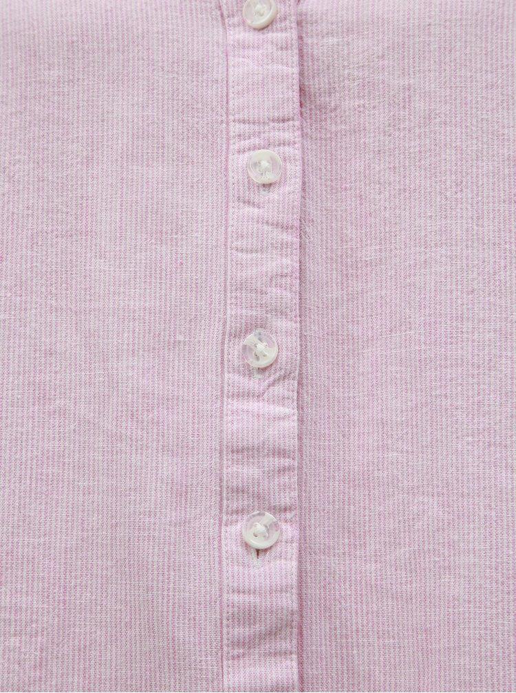 Ružová ľanová pruhovaná blúzka M&Co