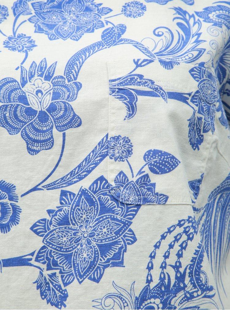 Bluza albastru-alb florala din in M&Co