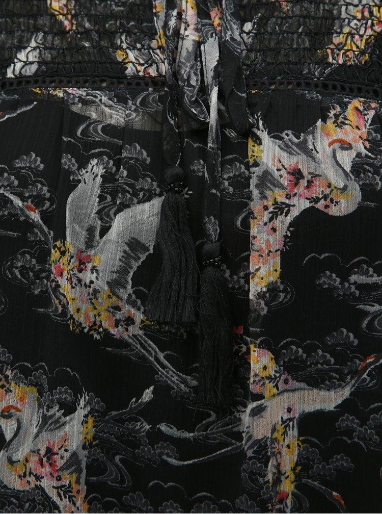 Černá průsvitná vzorovaná halenka s tílkem 2v1 M&Co