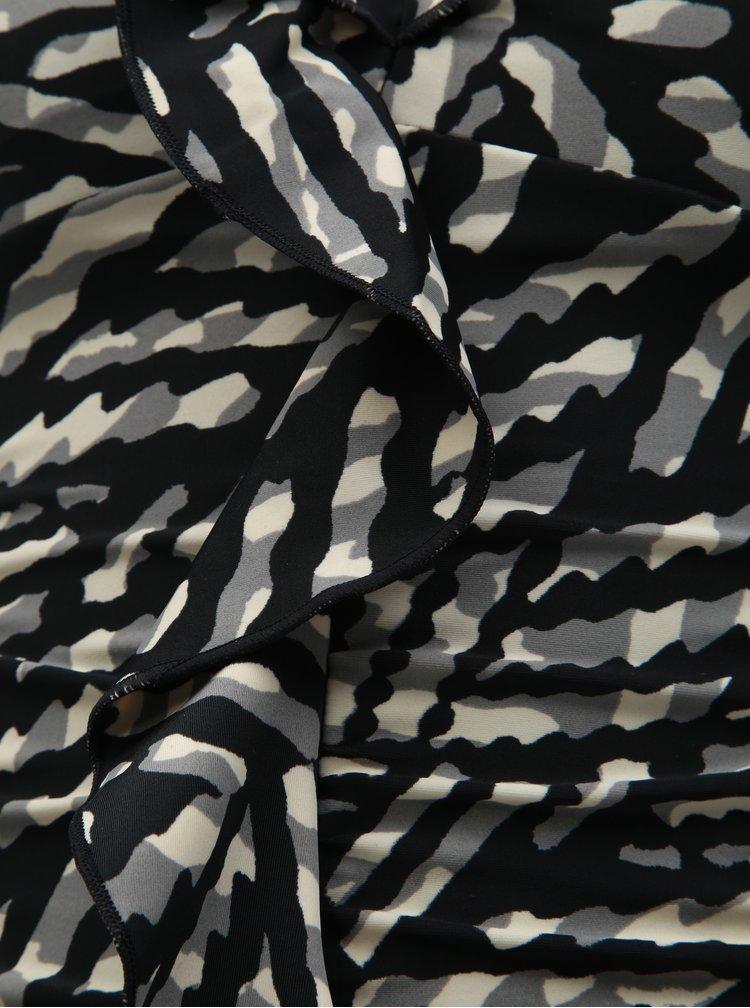 Čierny vzorovaný vrchný diel tankini plaviek M&Co