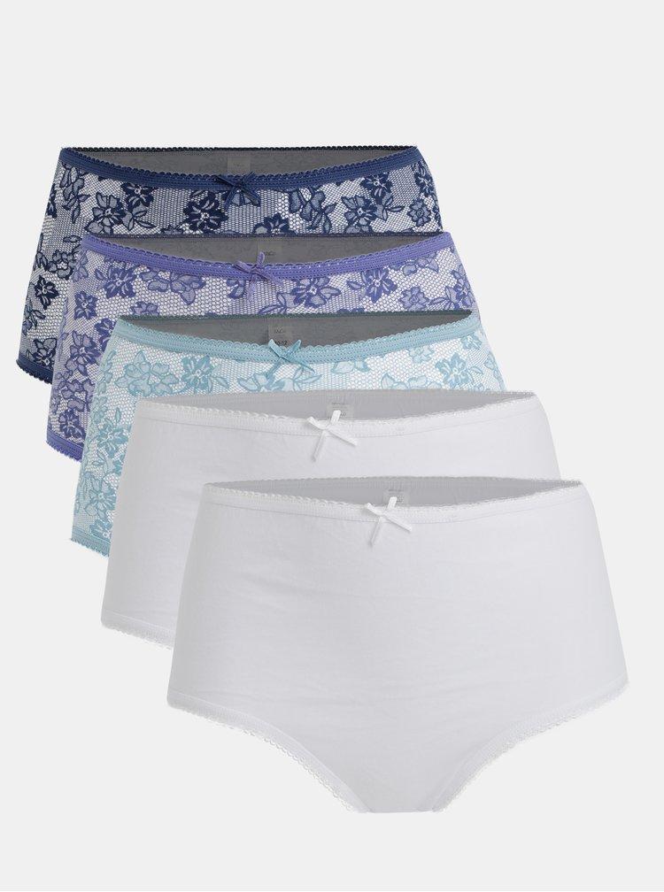 Sada pěti kalhotek v bílo-modré barvě M&Co