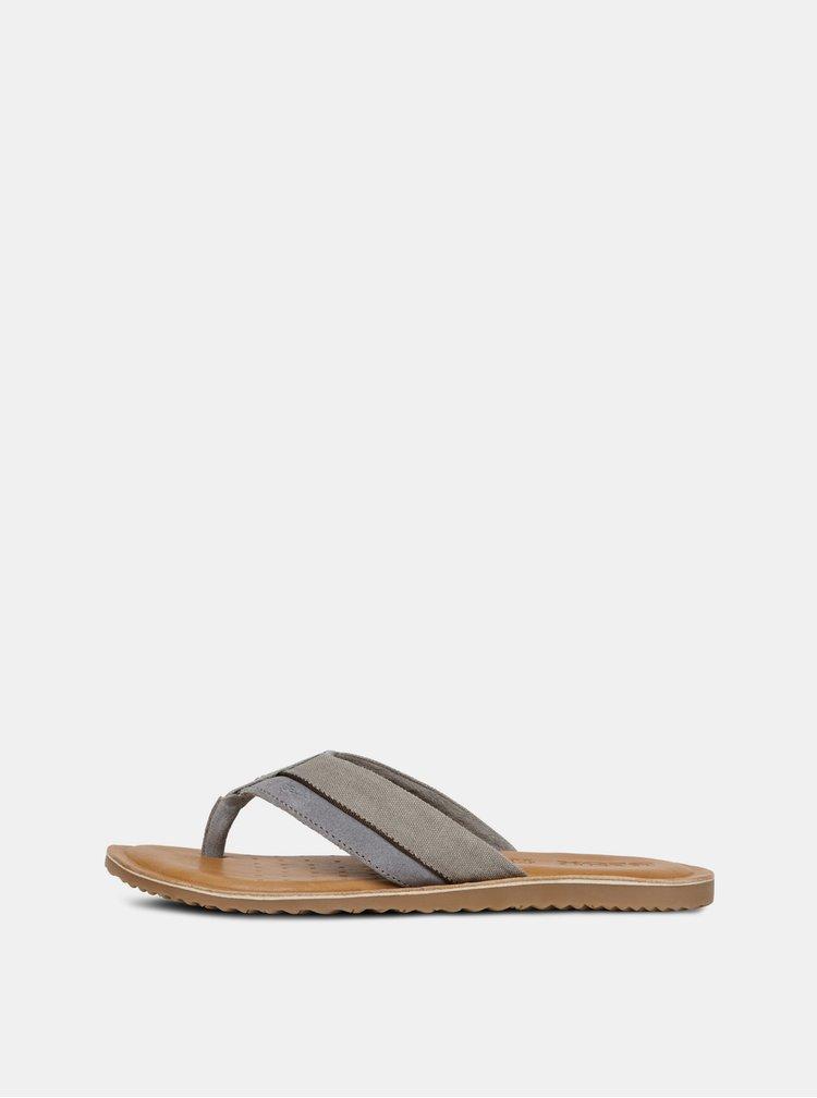 Papuci flip-flop barbatesti gri cu brant din piele Geox Artie