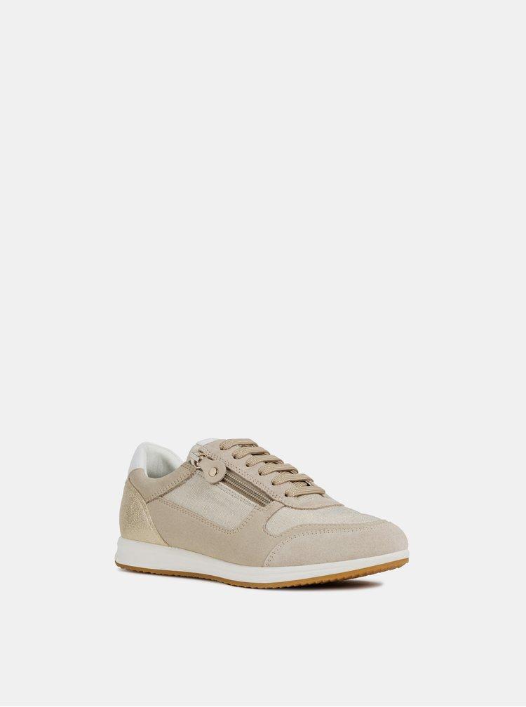 Pantofi sport bej de dama din piele intoarsa cu detalii metalice Geox Avery