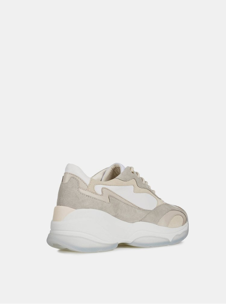 Pantofi sport bej-alb de dama din piele Geox Kirya