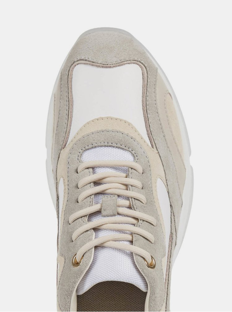 Béžovo-bílé dámské kožené tenisky Geox Kirya