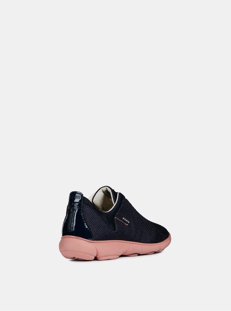 Pantofi sport albastri de dama cu detalii din piele intoarsa Geox Nebula