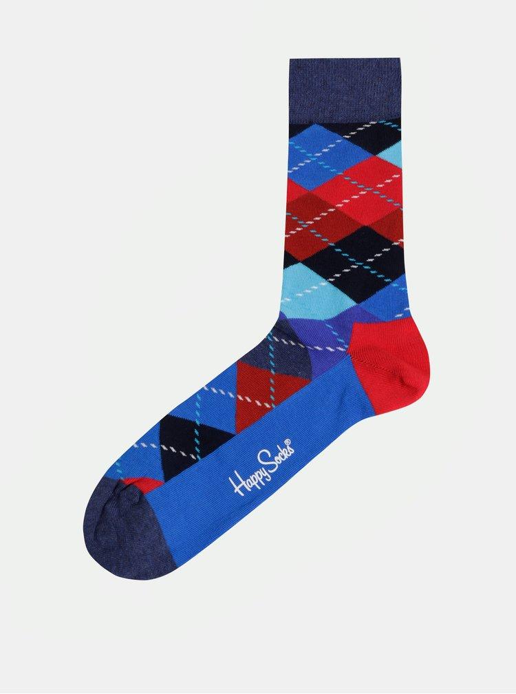 Sosete rosu-albastru cu model Happy Socks Argyle
