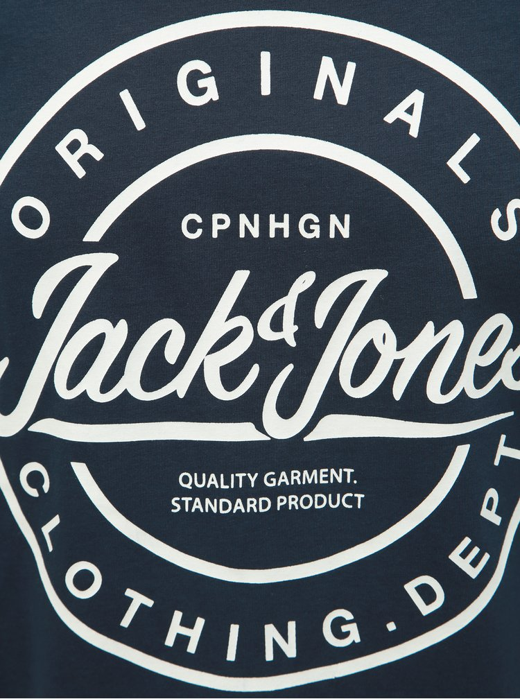 Tmavomodré slim fit tričko s potlačou Jack & Jones Rart Tender