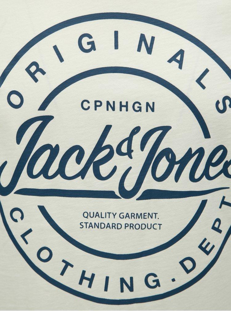 Bílé slim fit tričko s potiskem Jack & Jones Rart Tender