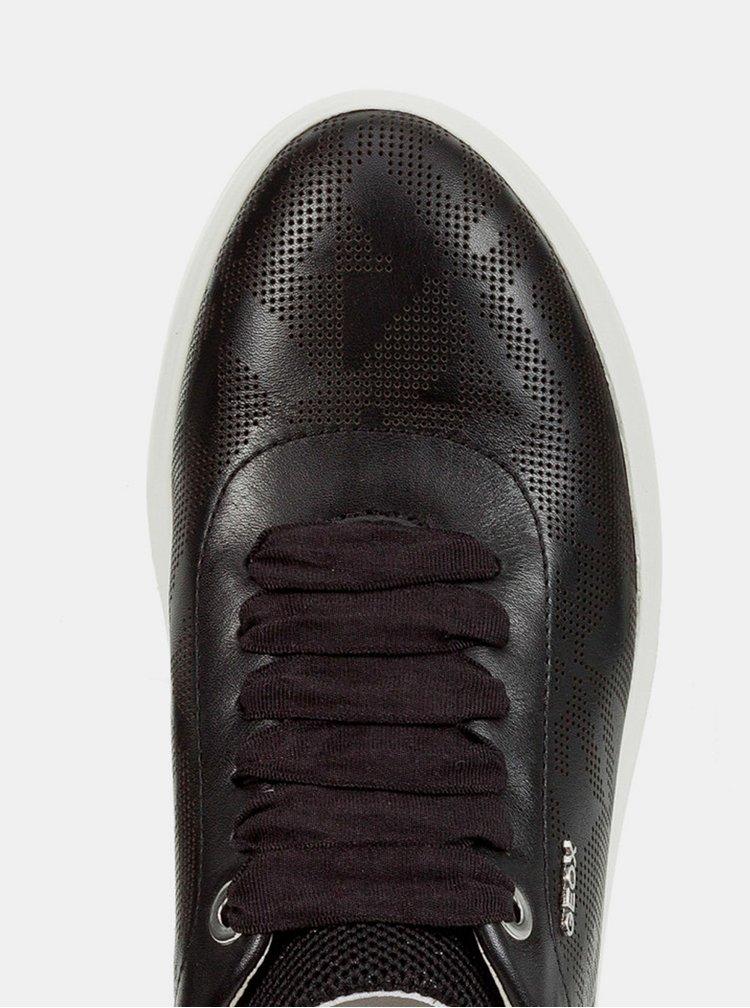 Čierne dámske kožené tenisky Geox Theragon