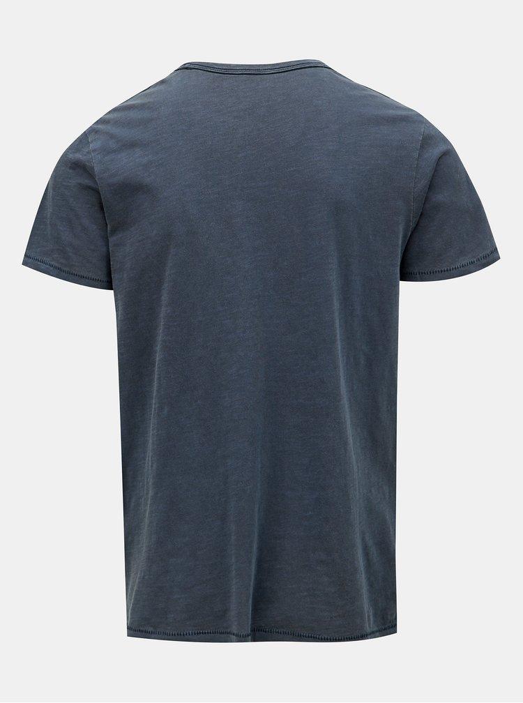 Tmavě modré slim fit tričko s potiskem Jack & Jones Dylan