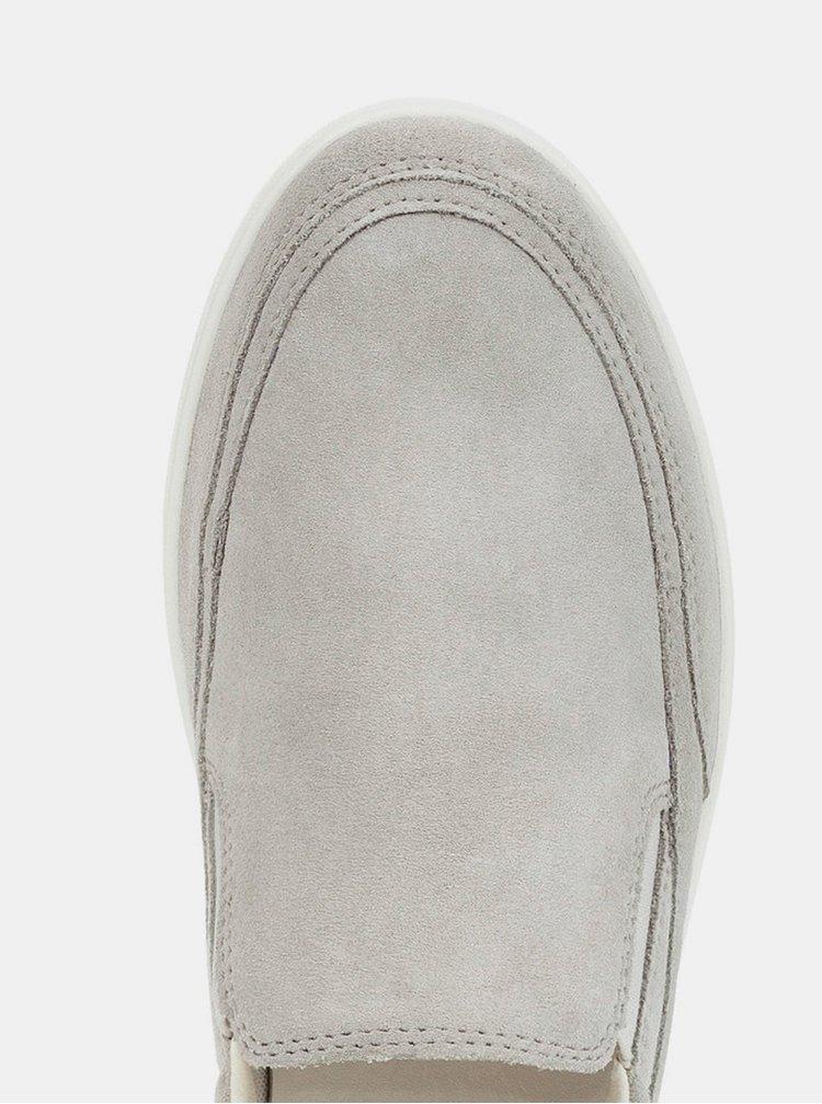 Pantofi slip on gri de dama din piele intoarsa Geox Tahina
