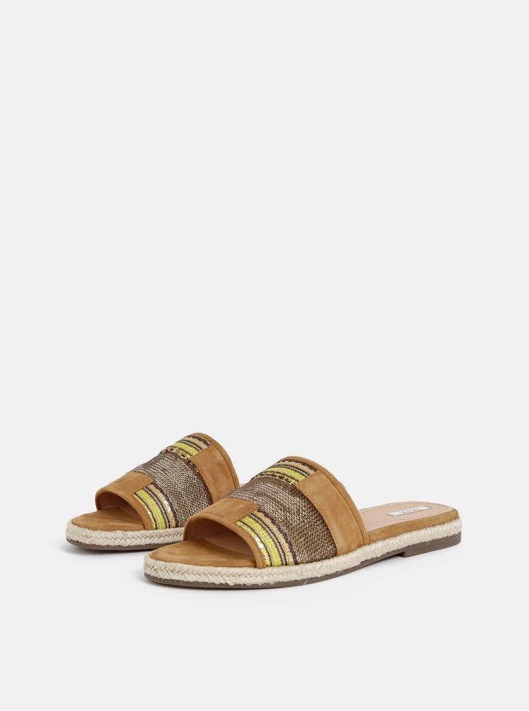 Hnědé dámské semišové pantofle Geox Kolleen