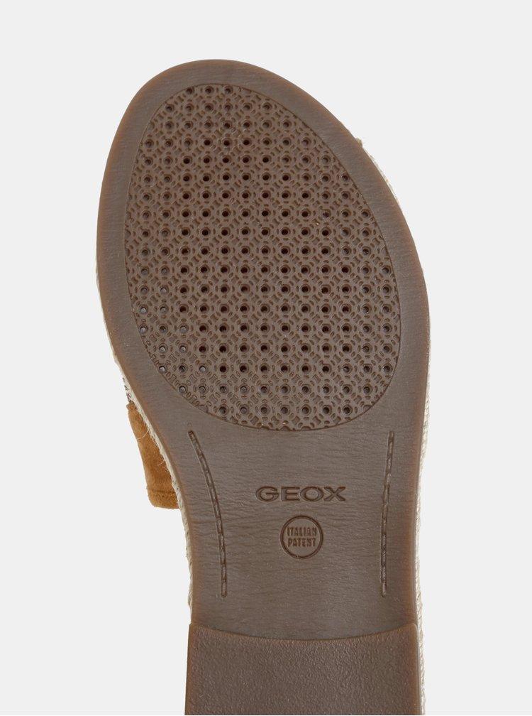 Hnedé dámske semišové šľapky Geox Kolleen