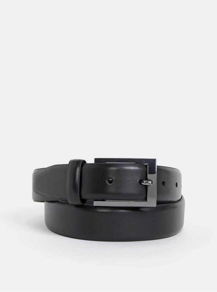Černý kožený pásek Burton Menswear London
