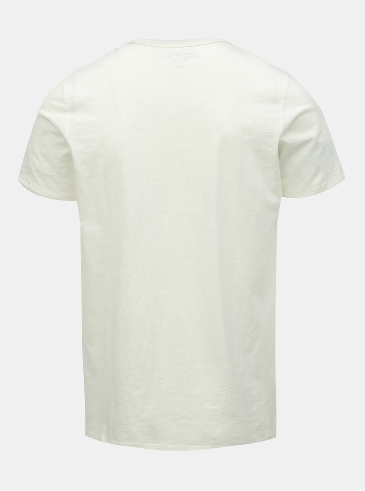 Tricou alb slim fit cu imprimeu Jack & Jones Dylan