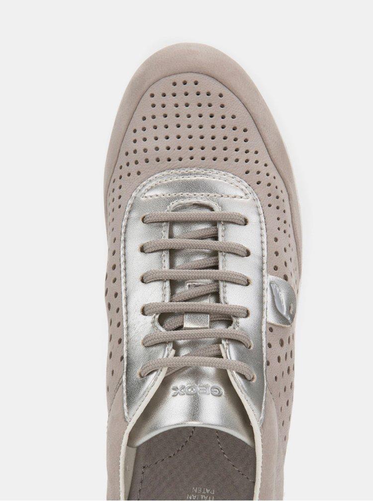 Pantofi sport gri de dama din piele cu detalii metalice Geox Vega