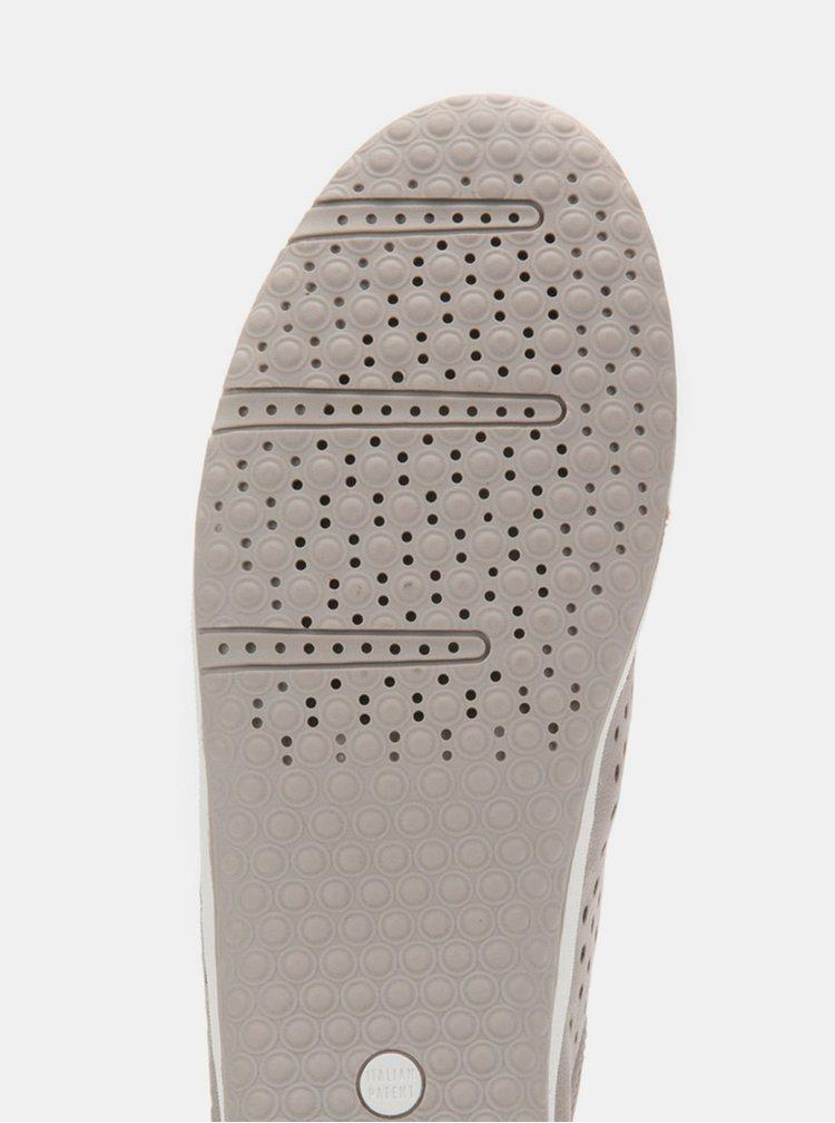 Sivé dámske kožené tenisky s metalickými detailmi Geox Vega