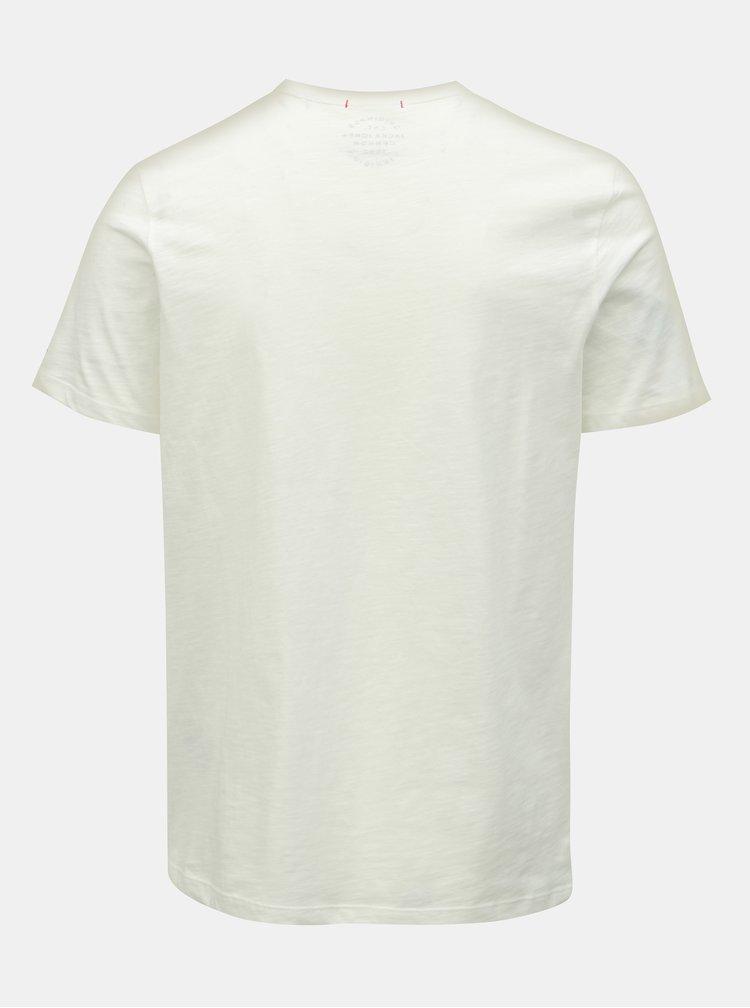 Tricou alb slim fit cu model Jack & Jones Tobi