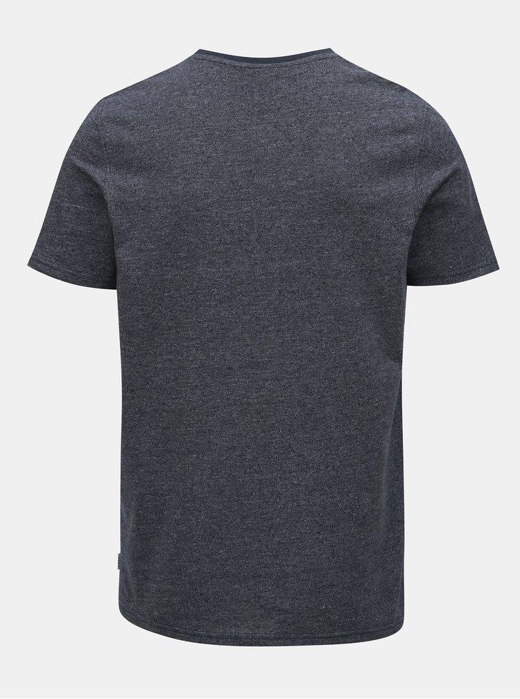 Tricou albastru inchis melanj slim fit Jack & Jones Raimi